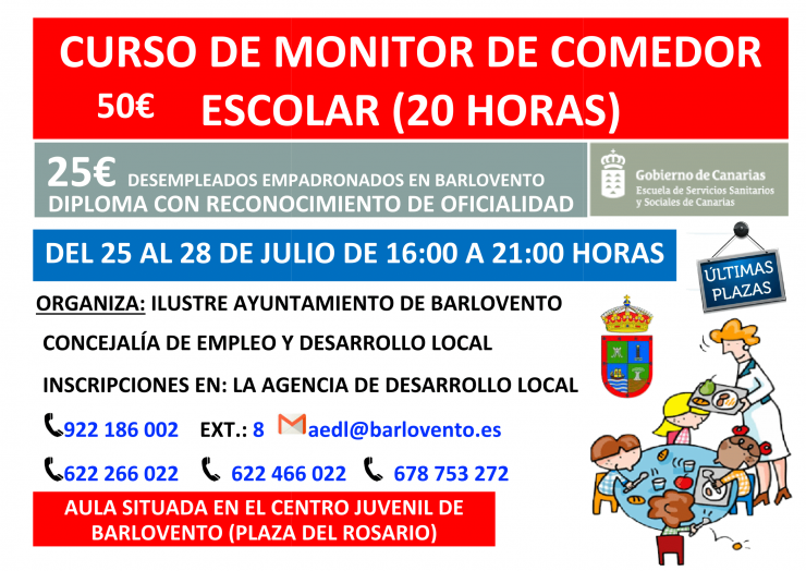 Curso de Monitor de Comedor Escolar (20 horas) en Barlovento