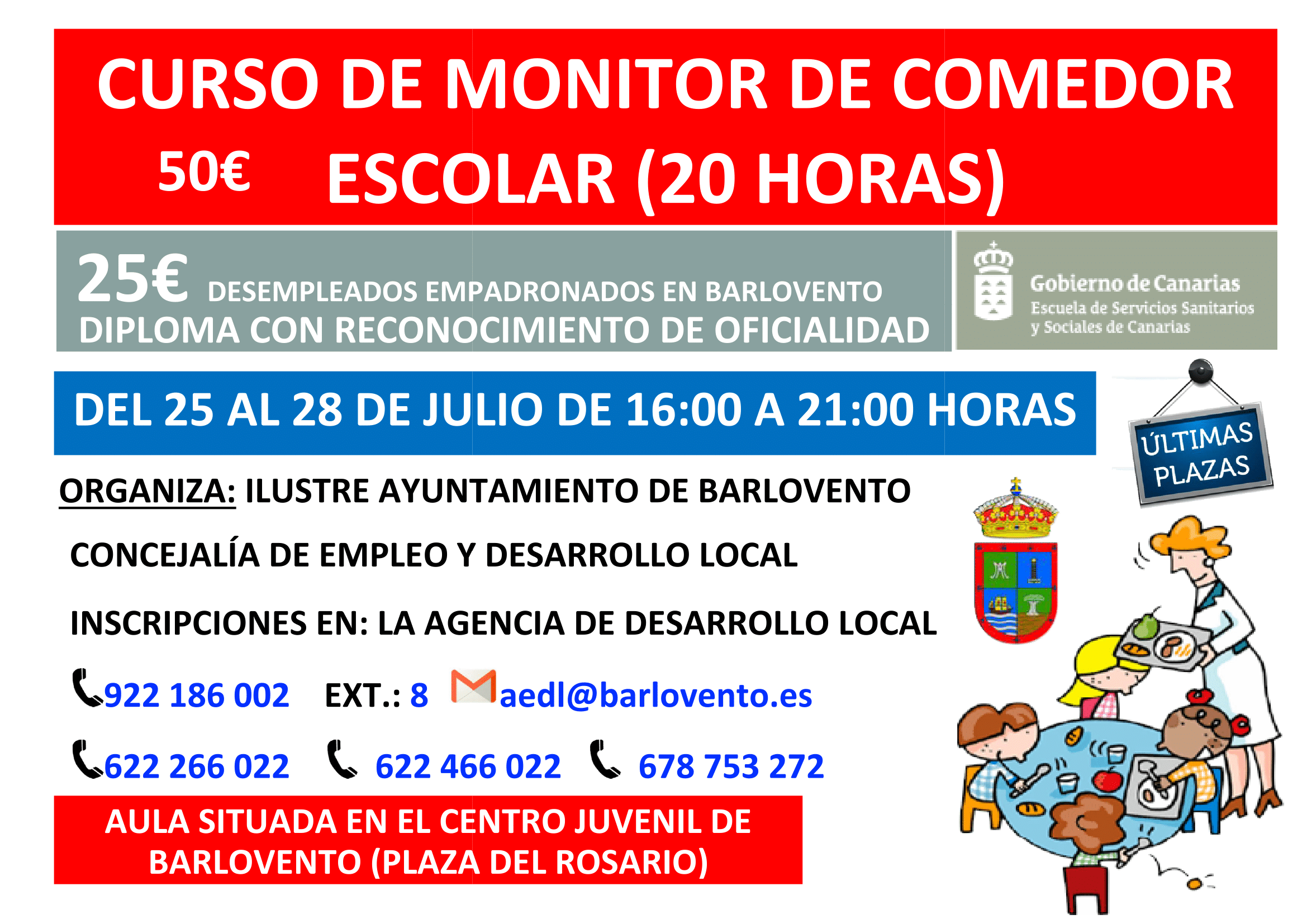 Curso de monitor de comedor escolar 20 horas en for Monitor comedor escolar
