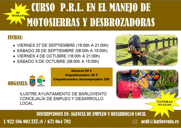 CURSO P.R.L. EN EL MANEJO DE MOTOSIERRAS Y DESBROZADORAS